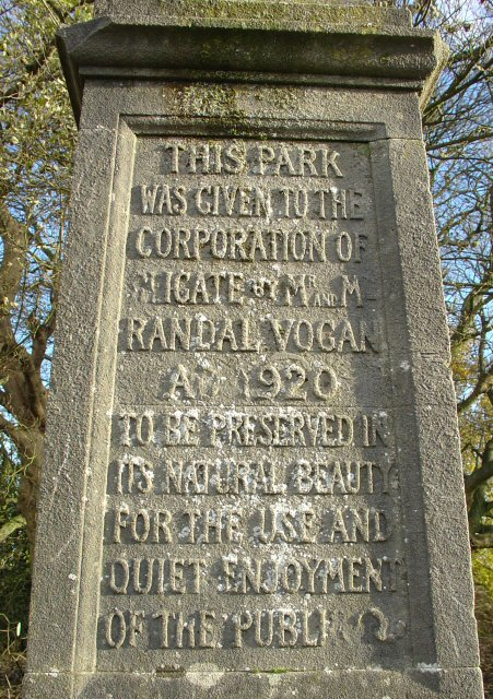 Carved Text on Monument, E top of Park Hill, Reigate Priory Park, Surrey