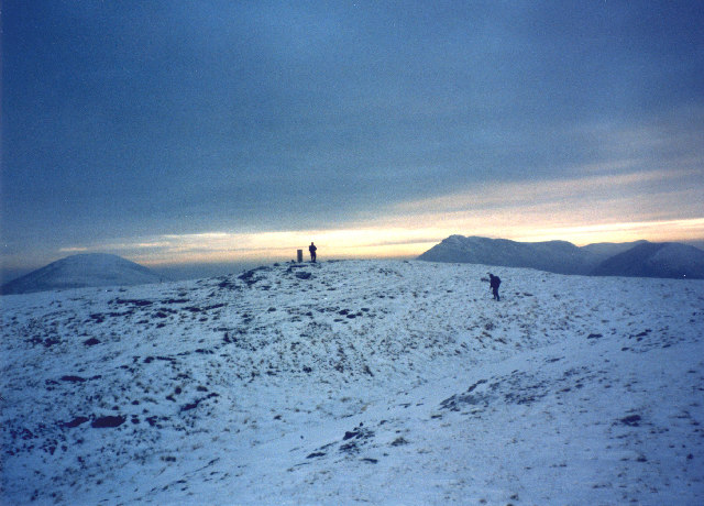 Late afternoon winter sunshine on the summit of Beinn Chaorach