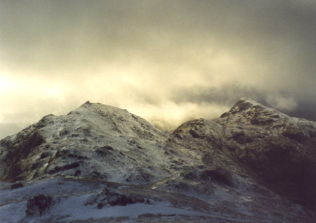 Incoming blizzard on the icy Tarmachan Ridge