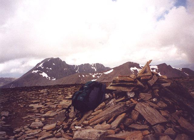 The summit cairn on Aonach Beag