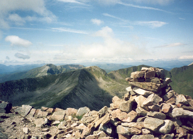 the summit cairn on Am Bodach