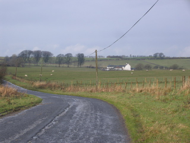 Fell road with farm in background.