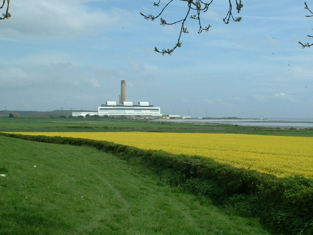 Across farmland towards West Aberthaw Power Station