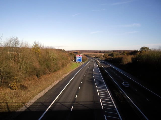 M3 looking north from Bridgetts Lane