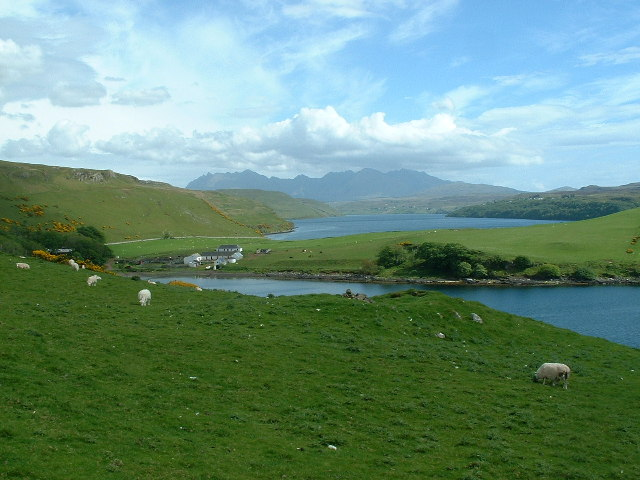Gesto Bay, Loch Harport and the Cuillin Hills