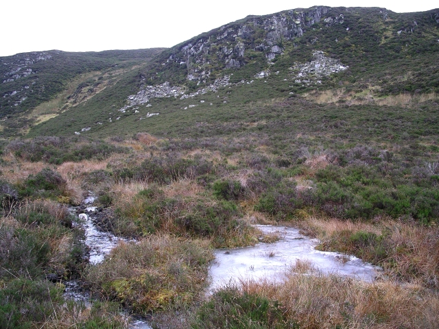 Frozen pool and crag, Meall na Moine