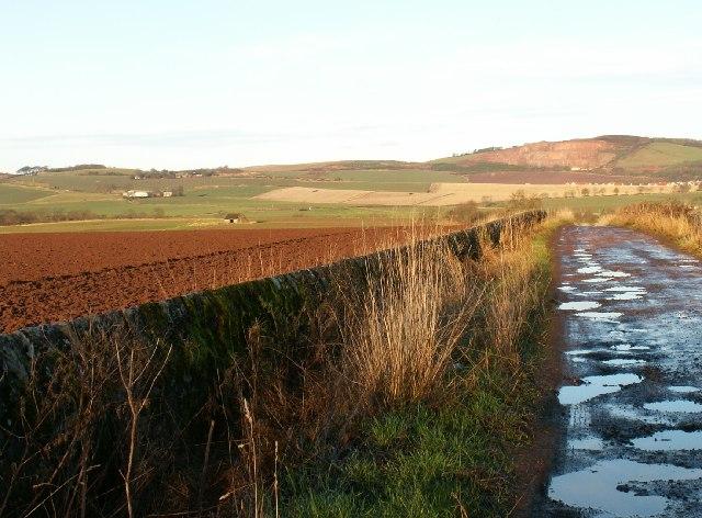 Farmland and road by Seggiehill