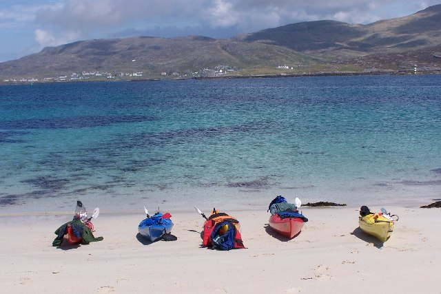 Kayaks on north beach, Creag Mhor, Vatersay
