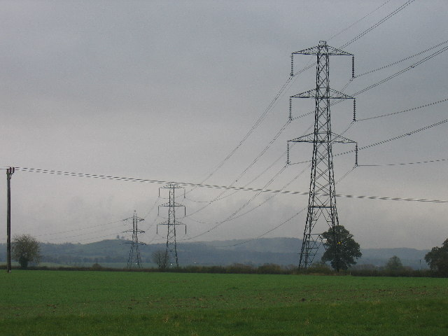Pylons marching across the fields towards the Chilterns