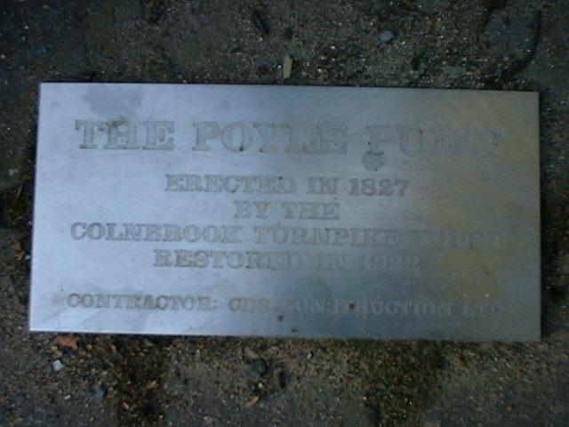 Poyle Pump - 1992 inscription near the pump