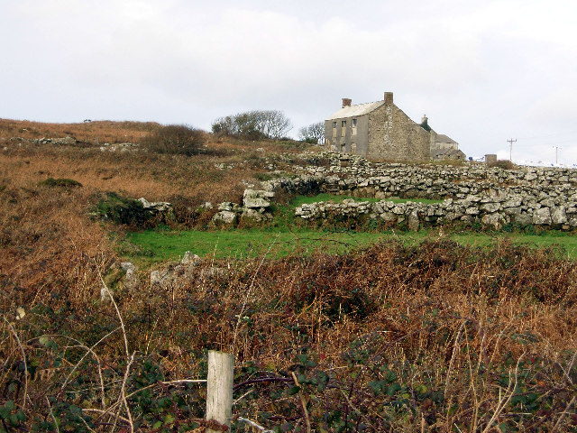 Cottages and old field hedges, near Carn Kenidjack