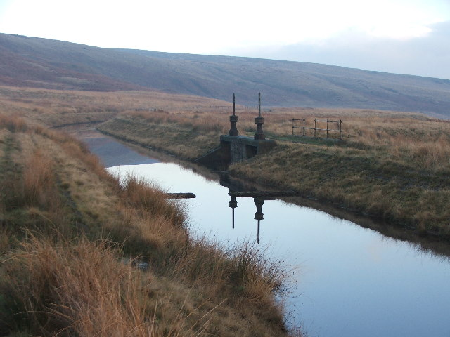 Sluice gates near Green Withens Reservoir.