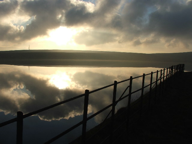 Railings at Green Withens Reservoir.