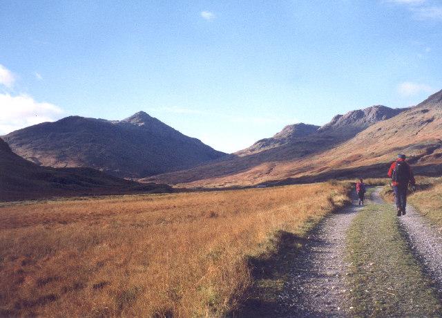 looking west up the track in Glen Lochay to Beinn Challum