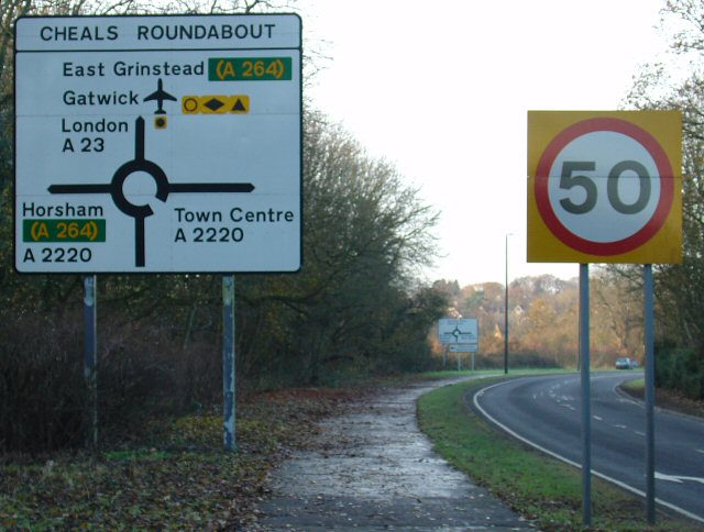Signage approaching Cheals Roundabout from SE (A23).