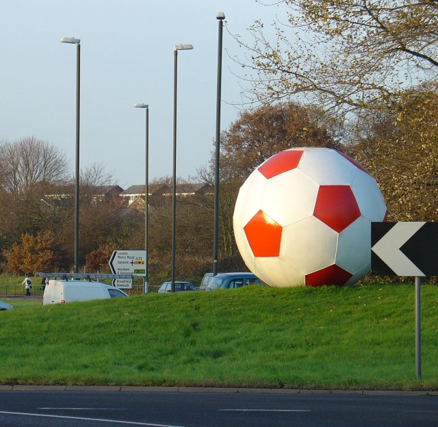 Football Sculpture on A23 Roundabout next to the Broadfield Stadium.