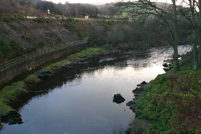 Looking E (downstream) from Eliock bridge over River Nith