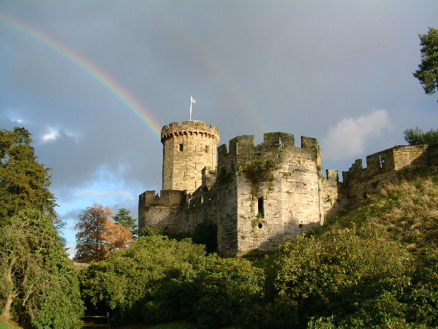 Warwick Castle with Rainbow