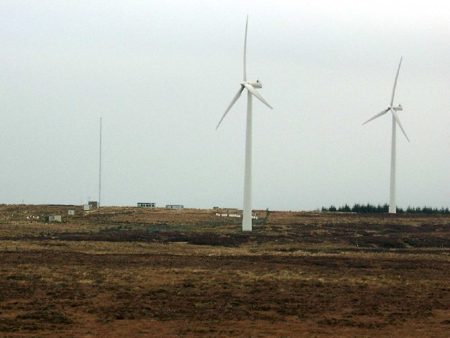 Wind turbines on top of Myres Hill
