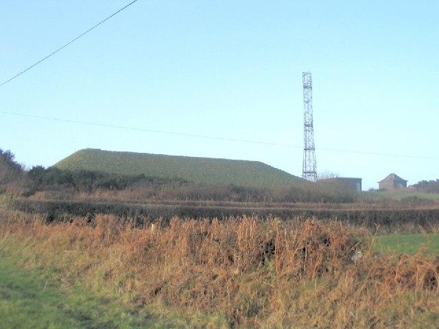 Hilltop reservoir and mast  northeast of Llannon