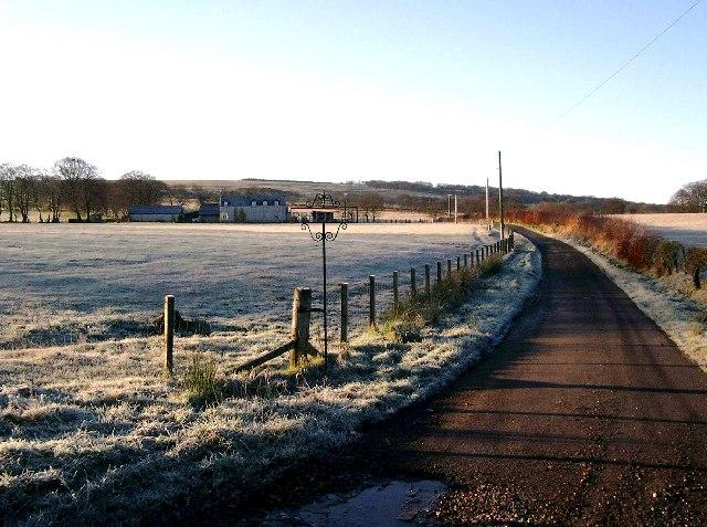 Braehead farm roadend on a frosty morning