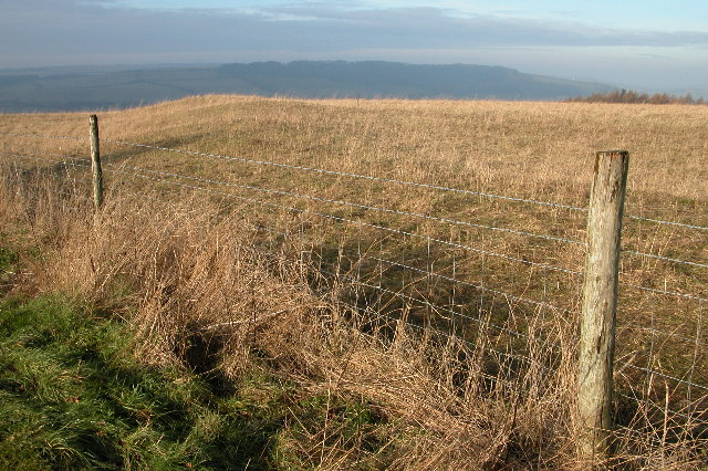 Earthworks from an ancient camp high on the Cotswold escarpment