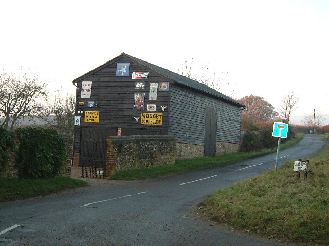 Barn with old signs, Buckland Common