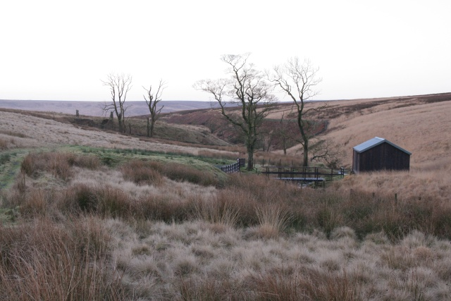 Footbridge and shooting lodge, Greave Clough