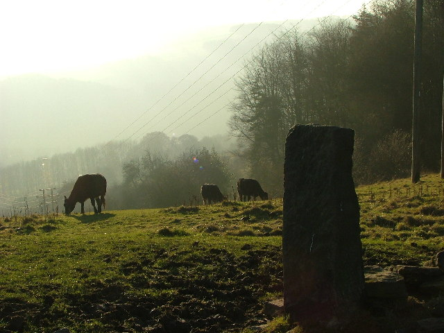 Stone gatepost near Fritchley