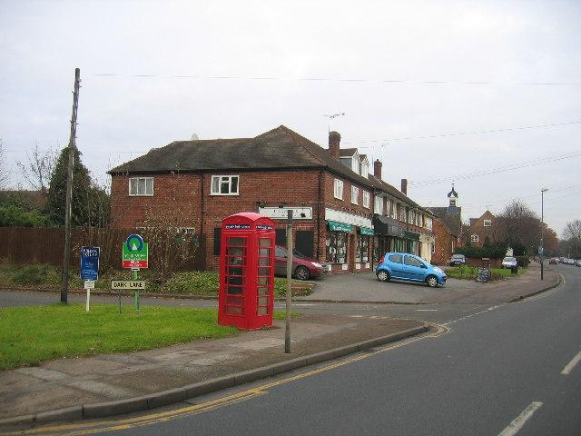 Tiddington shops and telephone kiosk