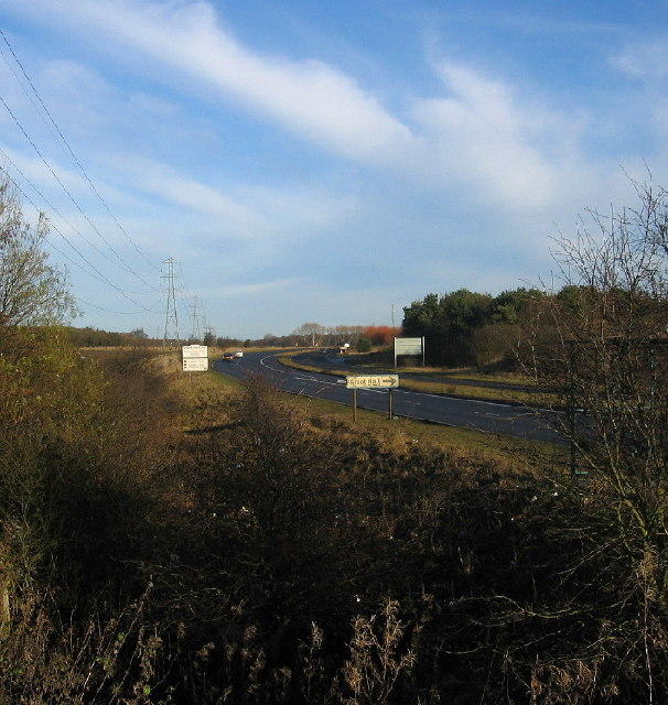 A1068 near its junction with the A19 and A1 north of Seaton Burn