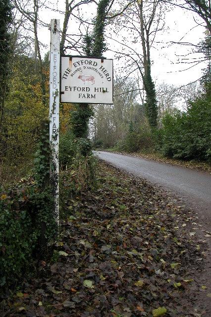 Sign for Eyford Hill Farm