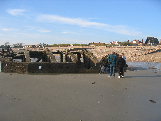 A D-Day Mulberry Harbour pontoon on the beach at Aldwick