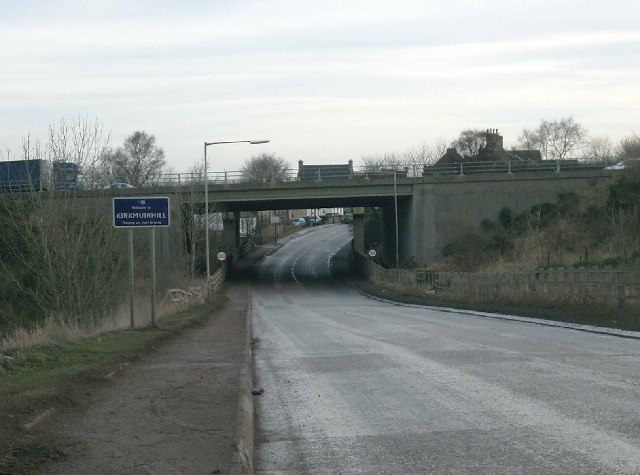 B7086 looking towards M74 bridge at Kirkmuirhill