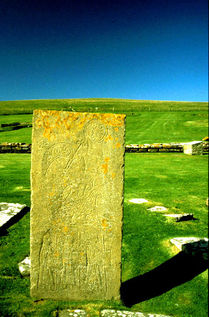 Pictish Symbol stone on The Brough of Birsay.