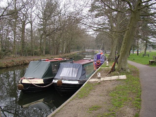 Narrow Boats at the Basingstoke Canal Visitors Centre at Mytchett, Frimley