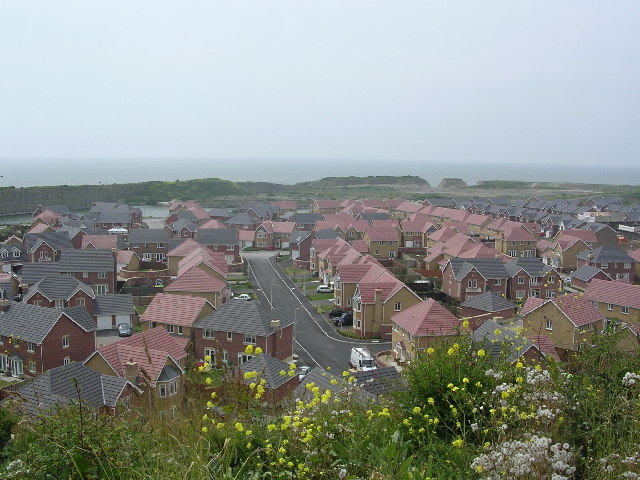 Housing in old quarry workings, Rhoose, South Wales