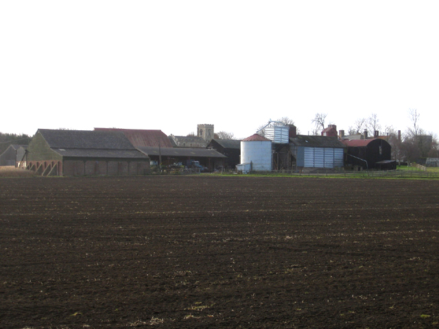 Manor Farm and parish church, Edworth, Beds