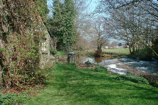 The stream running through Clodock behind the church