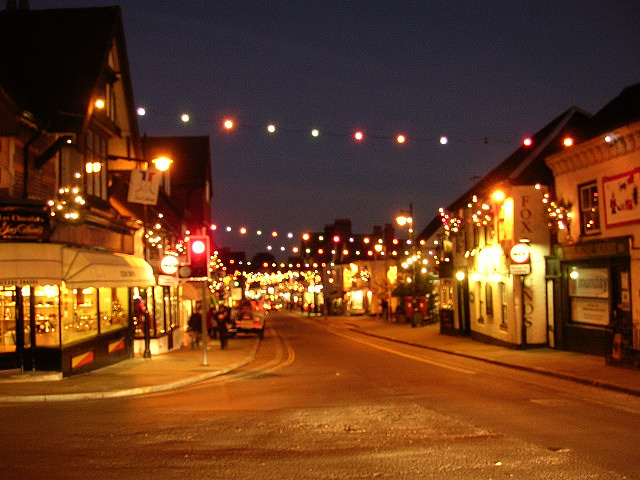 Christmas lights on Lyndhurst High Street, New Forest