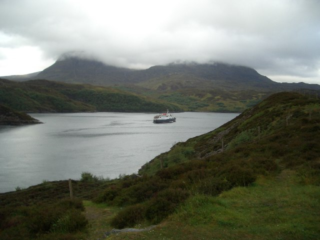 Ferry heads out of Loch a'Chairn Bhain into Eddrachillis Bay