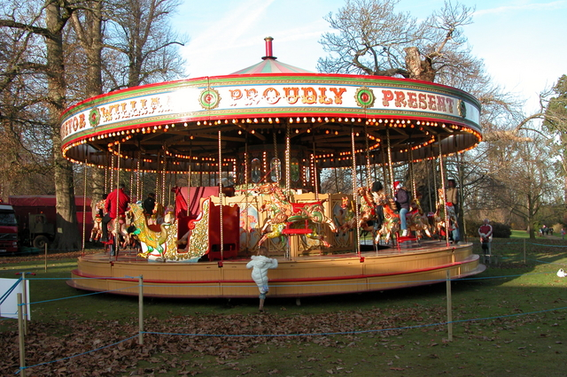 Carousel at the National Trust Christmas fair, at Petworth House