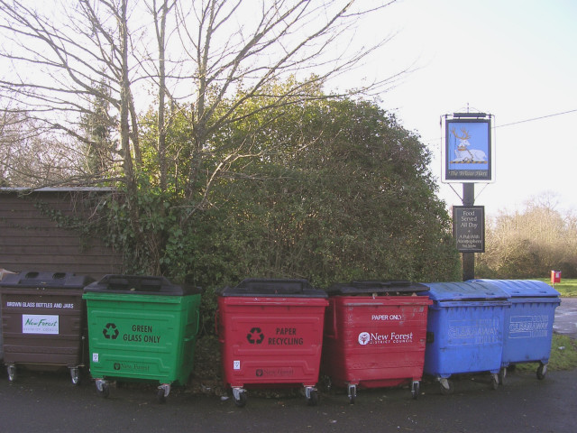 Recycling bins outside the White Hart public house, Cadnam
