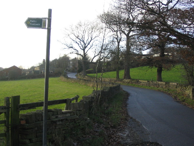 Lumb Lane with footpath sign