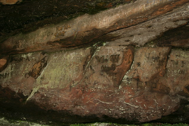 Graffiti inside St Cuthbert's Cave