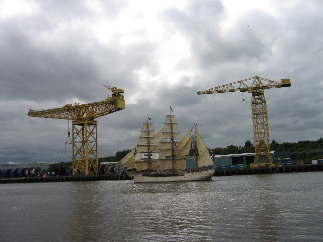 Tall ship but taller cranes