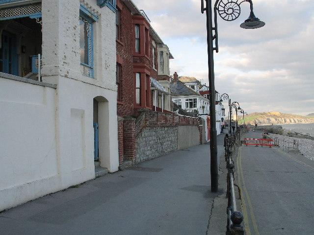 Lyme Regis downtown shoreline