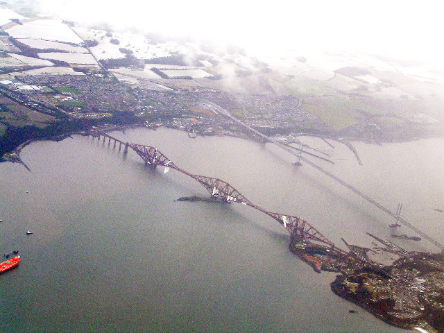 Forth Bridge viewed from an Airbus
