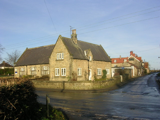 Village school and pub (the Crown) at Manfield, North Yorkshire