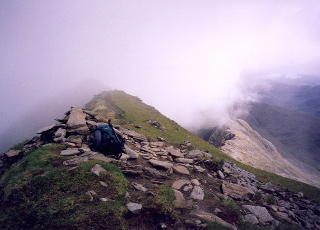 The summit cairn on Ladhar Bheinn